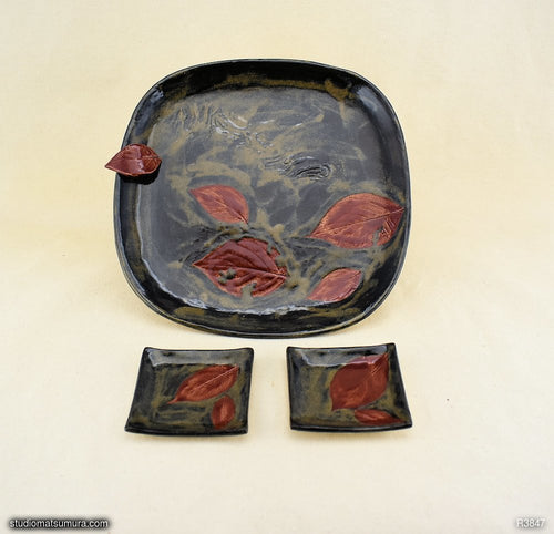 Handmade dinnerware, Dancing leaf square plate set