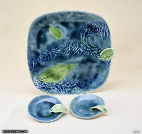 Handmade dinnerware, Dancing leaves 3 piece set