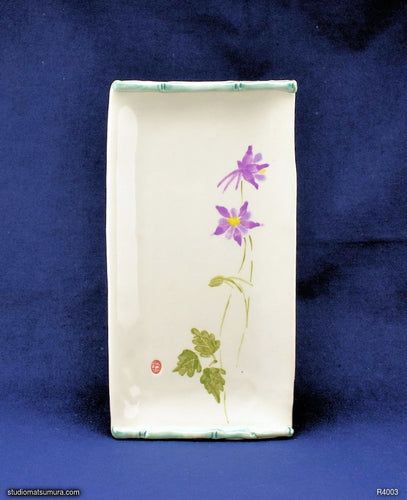 Handmade dinnerware with Sumi-e drawings of a violet Columbine with bamboo frame