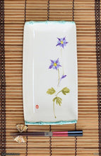 Load image into Gallery viewer, Another angle of  Handmade dinnerware, Sumi-e drawings of a Lavender Columbine with bamboo frame
