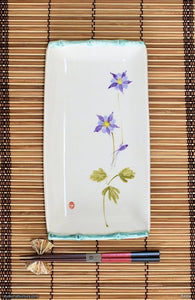 Another angle of  Handmade dinnerware, Sumi-e drawings of a Lavender Columbine with bamboo frame
