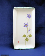 Load image into Gallery viewer, Handmade dinnerware, Sumi-e drawings of a Lavender Columbine with bamboo frame