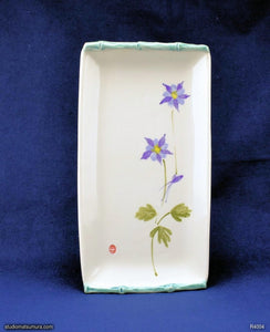 Handmade dinnerware, Sumi-e drawings of a Lavender Columbine with bamboo frame