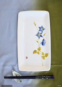 Another angle of  Handmade dinnerware with Sumi-e drawings of a Blue Columbine
