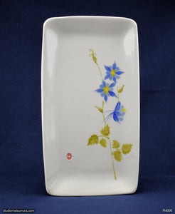 Handmade dinnerware with Sumi-e drawings of a Blue Columbine