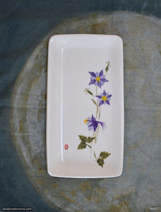 Another angle of  Handmade dinnerware with Sumi-e drawings of a Violet Columbine