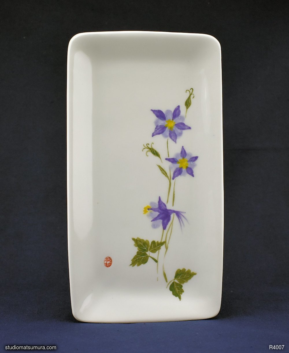 Handmade dinnerware with Sumi-e drawings of a Violet Columbine