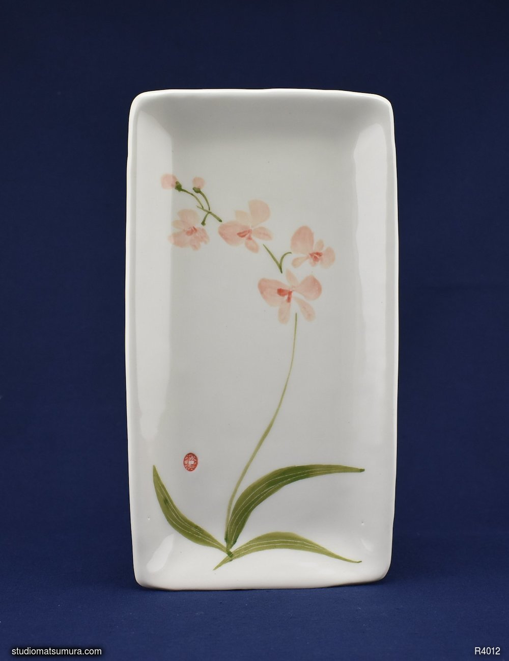 Handmade dinnerware with Sumi-e drawings of a Pink Orchid