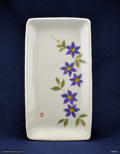 Handmade dinnerware with Sumi-e drawings of a Purple Clematis