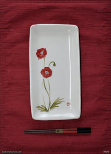 Another angle of  Handmade dinnerware with Sumi-e drawings of an Asian Poppy