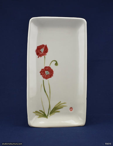 Handmade dinnerware with Sumi-e drawings of an Asian Poppy