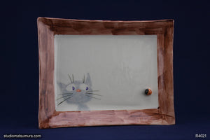 A Cat & Ladybug by the window. Handmade Stoneware Dinnerware