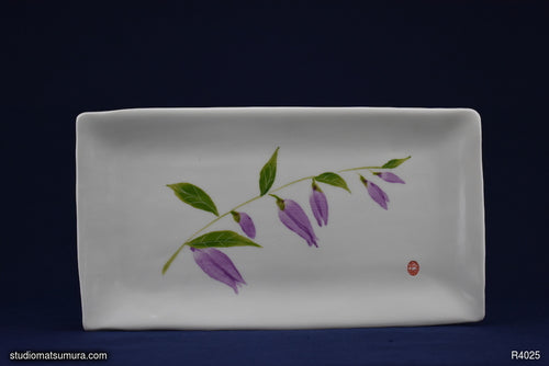 Handmade dinnerware with Sumi-e drawings of a Bellflower design