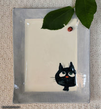Load image into Gallery viewer, Another angle of  Handmade dinnerware. Cat & Window Ladybug, variant 2