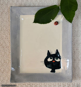 Another angle of  Handmade dinnerware. Cat & Window Ladybug, variant 2