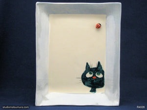 Handmade dinnerware. Cat & Window Ladybug, variant 2