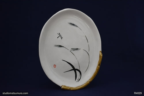 Handmade dinnerware with Sumi-e drawings of a dragonfly design