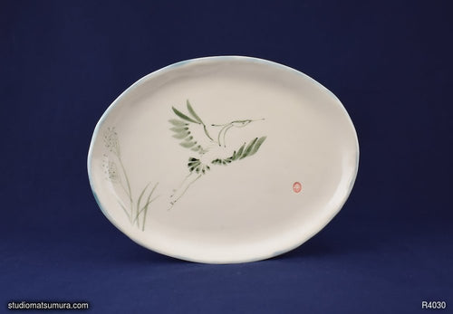 Handmade dinnerware with Sumi-e drawings of a Blue Heron
