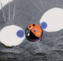 Load image into Gallery viewer, Handmade dinnerware. Cat & Ladybug (olive green). Stoneware., another image