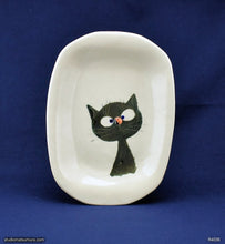 Load image into Gallery viewer, Handmade dinnerware. Cat & Ladybug (olive green). Stoneware.