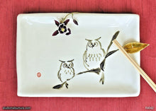 Load image into Gallery viewer, Another angle of  Handmade dinnerware with Sumi-e drawings of Two Owls