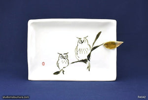Handmade dinnerware with Sumi-e drawings of Two Owls