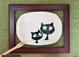 Another angle of  Two Cats & Ladybug.  Handmade Stoneware Dinnerware