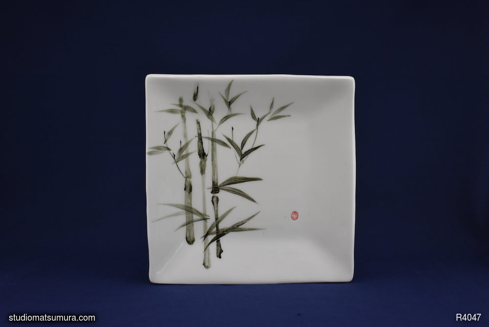Handmade dinnerware with Sumi-e drawings of a Bamboo