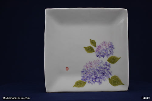 Handmade dinnerware with Sumi-e drawings of a Hydrangea