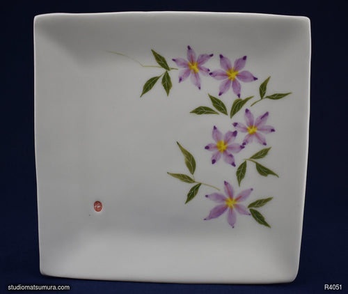Handmade dinnerware with Sumi-e drawings of a Clematis