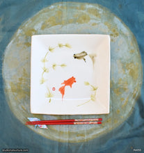 Load image into Gallery viewer, Another angle of  Handmade dinnerware with Sumi-e drawings of Goldfishes, Red and Black