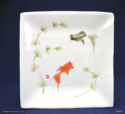 Handmade dinnerware with Sumi-e drawings of Goldfishes, Red and Black