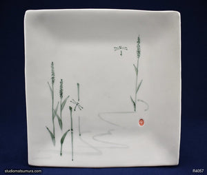 Handmade dinnerware with Sumi-e drawings of a Dragonflies in Marshes