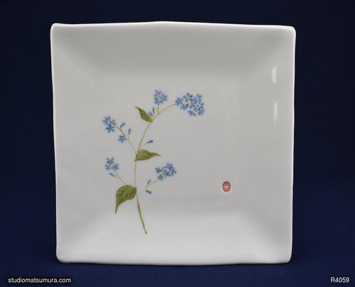 Handmade dinnerware with Sumi-e drawings of a Forget-me-not