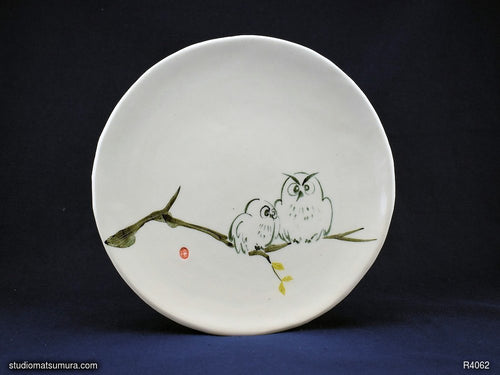 Handmade dinnerware with Sumi-e drawings of a Young Owl and Parent Owl