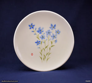 Handmade dinnerware with Sumi-e drawings of a Blue Flax