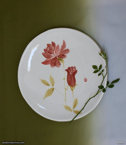 Handmade dinnerware with Sumi-e drawings of a Rose, round plate, another image