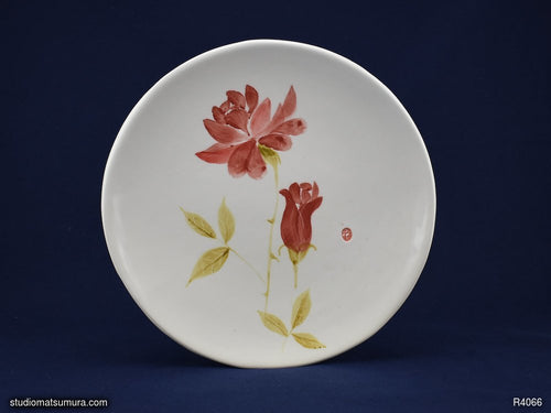 Handmade dinnerware with Sumi-e drawings of a Rose, round plate