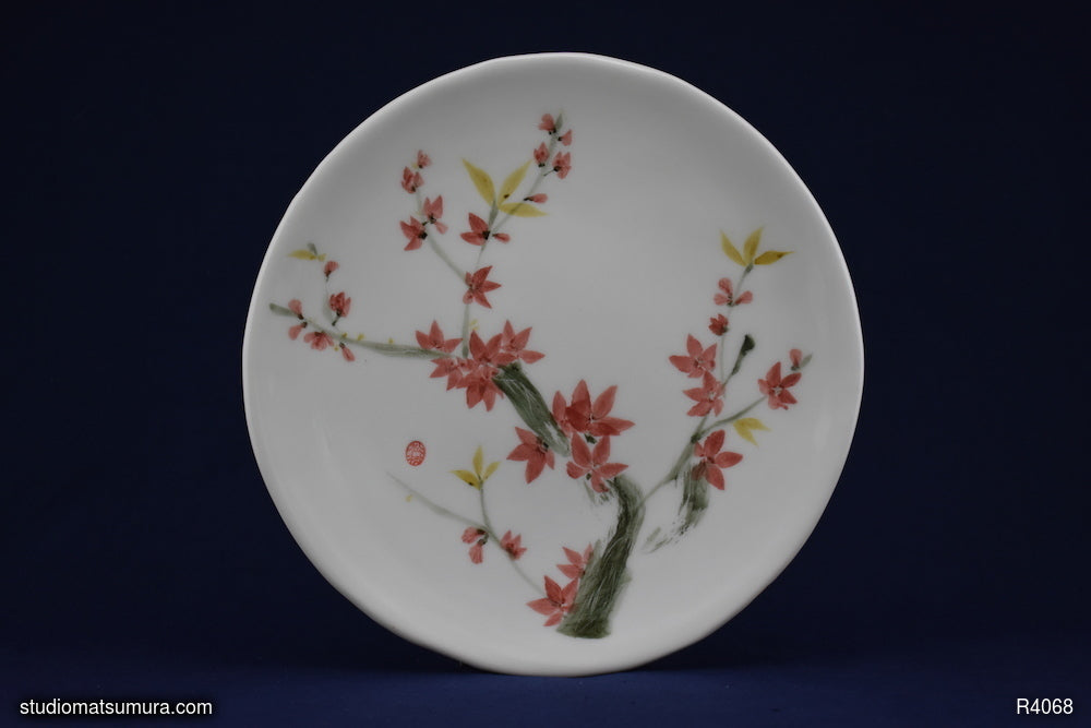 Handmade dinnerware with Sumi-e drawings of a Plum Blossom