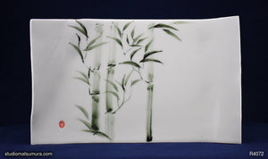 Handmade dinnerware with Sumi-e drawings of a Bamboo, platter size