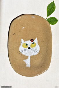 Another angle of  Handmade dinnerware.  Cat & Ladybug, variant 3