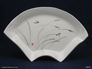 Handmade dinnerware with Sumi-e drawings of Dragonfly, fan shaped platter