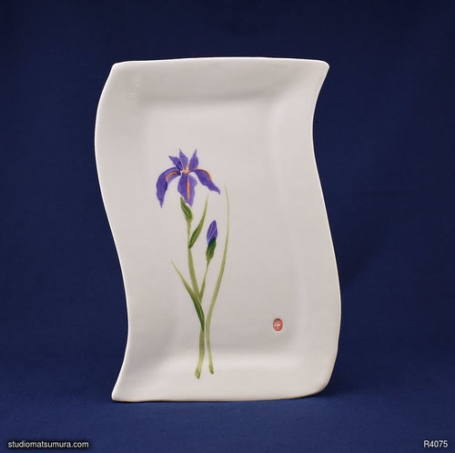 Handmade dinnerware with Sumi-e drawings of an Iris