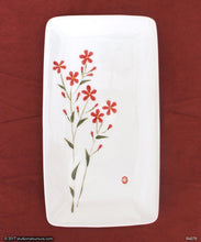Load image into Gallery viewer, Another angle of  Handmade dinnerware with Sumi-e drawings of a Scarlet Flax