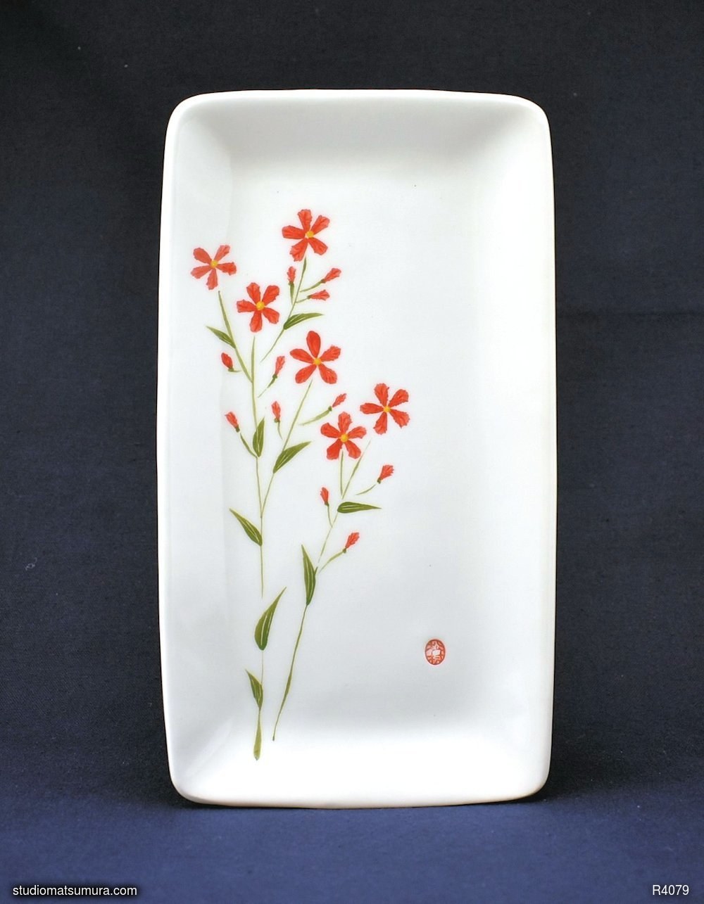 Handmade dinnerware with Sumi-e drawings of a Scarlet Flax