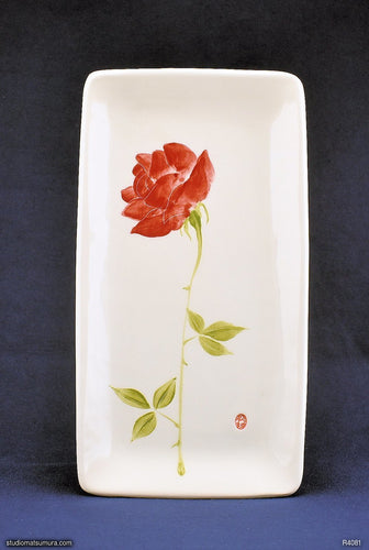 Handmade dinnerware with Sumi-e drawings of a Red rose