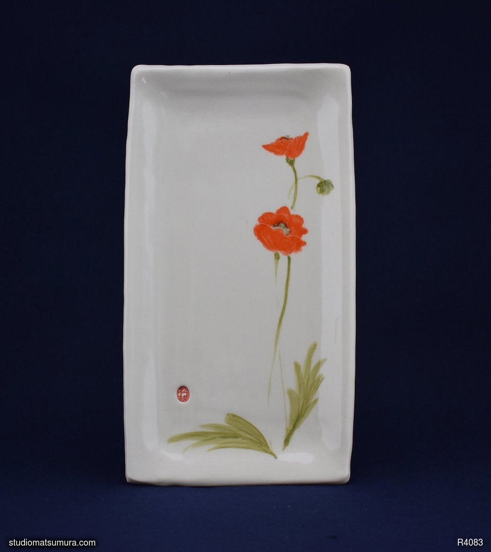 Handmade dinnerware with Sumi-e drawings of a Poppy