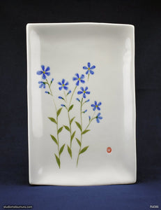 Handmade dinnerware with Sumi-e drawings of Three Blue Flax