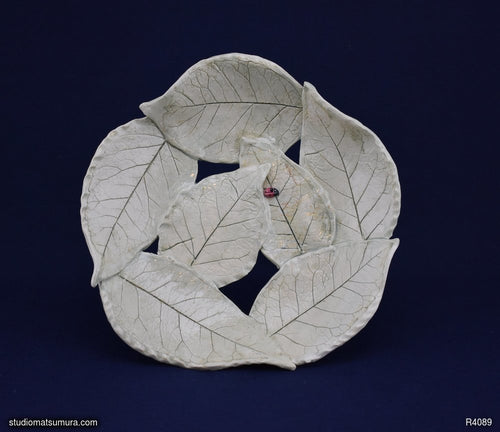 Handmade dinnerware, Leaves and a Ladybug Earthenware