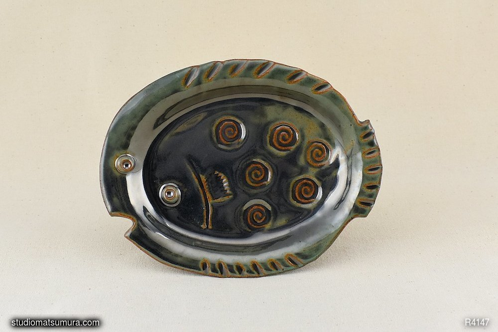 Fish stoneware decorative plate, variant 3.  Handmade.
